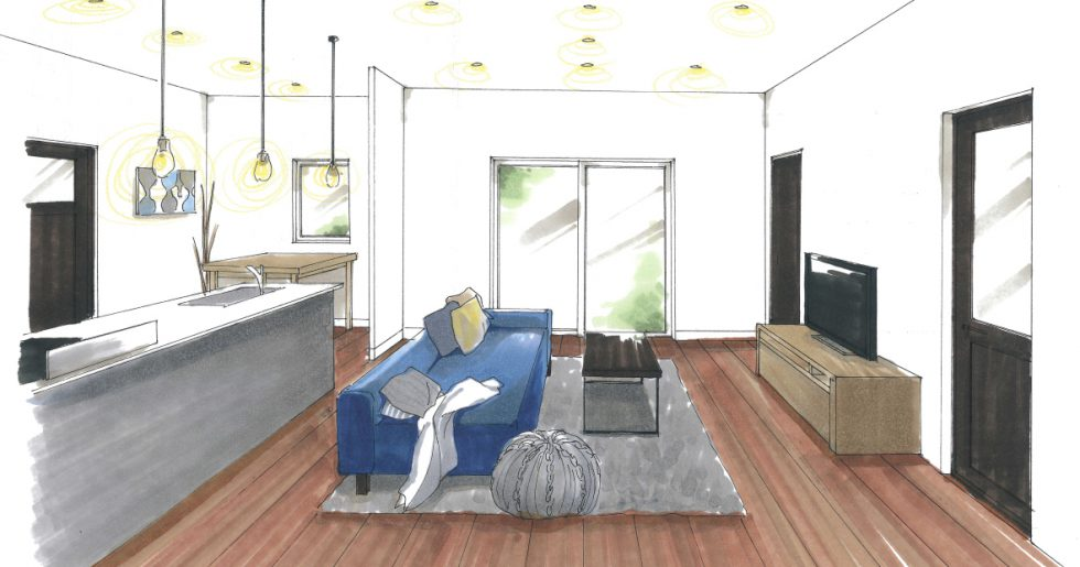 霧島市隼人町で平屋新築発表会 キッチンを中心とした家族の笑顔が見える楽カジなお家