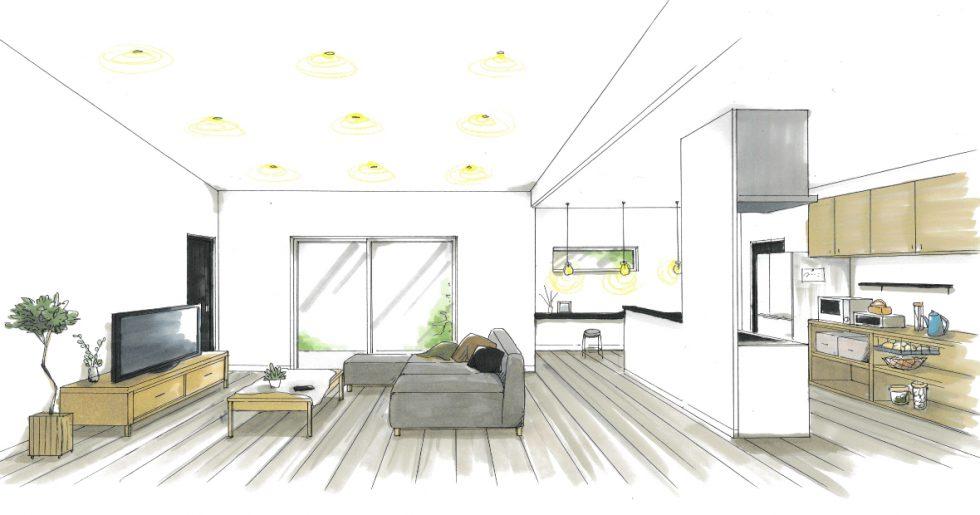 薩摩川内市永利町で新築発表会 適材適所に設けた収納とモノトーンにこだわった平屋の住まい