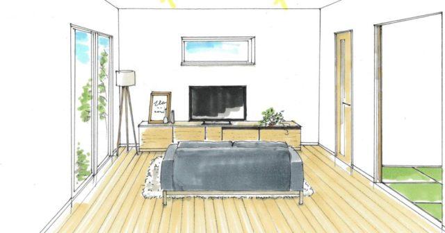 南九州市で新築発表会 ペニンシュラキッチンとリビング勾配天井の解放感が有る家
